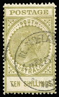 Lot 816 [2 of 2]:1904-11 Thick 'POSTAGE' Wmk Crown/SA (Close) Perf 12 10/- green SG #291 x2, deep & light shades, fine/very fine used, Cat £300. (2)