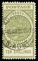 Lot 816 [1 of 2]:1904-11 Thick 'POSTAGE' Wmk Crown/SA (Close) Perf 12 10/- green SG #291 x2, deep & light shades, fine/very fine used, Cat £300. (2)