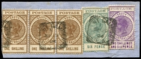 Lot 814 [1 of 6]:1904-11 Thick 'POSTAGE' Wmk Crown/SA (Close) Perf 12 mint & used 6d to 2/6d selection, various printings, between SG #284-9 with 6d mint x3 (including pair) & used x5, 8d mint x3 & used x3, 9d mint x8 (including brown-red BW #S50 x3 and Melbourne Printing #S51 strip of 3) & used x3, 10d used x2, 1/- mint x1 & used x5 (including strip of 3 on piece with 6d & Thin 'POSTAGE' 2/6d), 2/6d used x4, 5/- mint x3 & used x2; condition mostly fine, Cat £970+. (42)