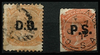 Lot 1068 [2 of 2]:Overprinted in Black Rated Selection comprising with Rated 2R 'D.B.' on Crown/SA 2d P10x12 (repaired long tear); Rated R 'L.T.' on defective Large Star 6d P12xRoulette tied to piece by 1870 Adelaide datestamp and 'P.S.' on V/Crown 2d P10 (trimmed perfs). (3)