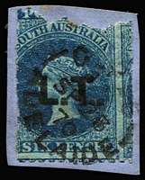 Lot 1068 [1 of 2]:Overprinted in Black Rated Selection comprising with Rated 2R 'D.B.' on Crown/SA 2d P10x12 (repaired long tear); Rated R 'L.T.' on defective Large Star 6d P12xRoulette tied to piece by 1870 Adelaide datestamp and 'P.S.' on V/Crown 2d P10 (trimmed perfs). (3)