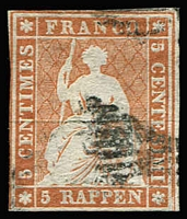 Lot 664:1854 Sitting Helvetia Munich Printing 5Rp orange-brown Mi #13Ia (Zumstein #22Aa) with green thread, minor corner thin, margins largely complete, expertised by Rellstab BPP, Cat €1,500.