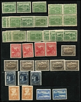 Lot 367 [2 of 4]:Assortment On Hagners with imperf 1d & 2d x2 Chalons, Sidfaces including mint 9d x3, Tablets with Wmk 'TAS' 1/- mint, and V/Crown 1/- perf 'OS' used, duplicated Pictorials mint to 2½d x3, 3d x5, 4d & 5d x2 including ½d block of 4, used to 6d x2 including 1d 'McK/S' perfin, limited postmark interest including Gawler on 1d Pictorial (Rated R). (230 approx)
