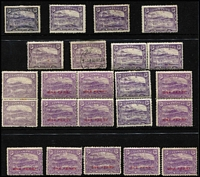 Lot 367 [3 of 4]:Assortment On Hagners with imperf 1d & 2d x2 Chalons, Sidfaces including mint 9d x3, Tablets with Wmk 'TAS' 1/- mint, and V/Crown 1/- perf 'OS' used, duplicated Pictorials mint to 2½d x3, 3d x5, 4d & 5d x2 including ½d block of 4, used to 6d x2 including 1d 'McK/S' perfin, limited postmark interest including Gawler on 1d Pictorial (Rated R). (230 approx)