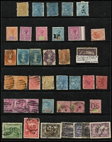Lot 367 [1 of 4]:Assortment On Hagners with imperf 1d & 2d x2 Chalons, Sidfaces including mint 9d x3, Tablets with Wmk 'TAS' 1/- mint, and V/Crown 1/- perf 'OS' used, duplicated Pictorials mint to 2½d x3, 3d x5, 4d & 5d x2 including ½d block of 4, used to 6d x2 including 1d 'McK/S' perfin, limited postmark interest including Gawler on 1d Pictorial (Rated R). (230 approx)