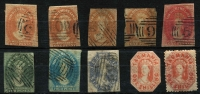 Lot 393:Chalons Group with imperf Numeral Wmk 1d x5 (two thinned), 2d, 4d, & 6d; margins variable, postally used; also 1/- cut-to-shape & perforated 1/- both fiscally used (cleaned). (10)