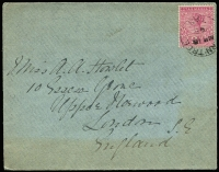 Lot 405 [3 of 15]:1890s-1900s bundle of covers or PPCs, predominantly 2d Pictorial frankings including double-rate x2 (one with 2d + 1d pair) and triple-rate x2, mostly Tatts covers to Hobart with nice variety of aliases, plus a couple to Button Bros in Oatlands; datestamp cancels include Fern-Tree (tying 2½d Tablet), Forth/BN '36', Mount Read, Wilmot, etc; worthy of closer inspection. (31)