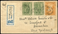 Lot 1200 [1 of 2]:1911(?) (Aug 12) Hobart registered cover to New Zealand with Pictorials 4d & ½d pair tied by Hobart datestamps, Dunedin arrival back stamp.