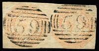 Lot 1188:1853 Imperf Courier Plate I Worn Impression 4d pale orange SG #9 pair, margins complete (very close in places), thin at top-right (outside frameline), BN '59' cancels, Cat £900+. Scarce multiple.