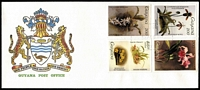 Lot 1170 [2 of 4]:Orchids: Guyana 1985-87 Reichenbachia issues (usually sets of 4), a few with M/Ss, on unaddressed generic FDCs with Coat of Arms illustration, some with light tone spotting, generally fine. (80)