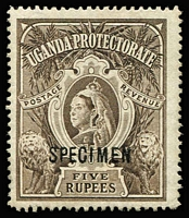 Lot 1480:1898-1902 QV Wmk Crown CC 5r brown optd 'SPECIMEN' SG #91s, without gum.