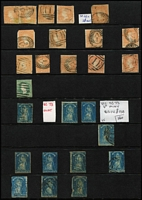 Lot 372 [2 of 4]:1850s-60s Mostly Imperf Selection with 2d QOT x6 one possibly unused (faults), another fine used on piece, 1/- Octagonal x3, 6d Woodblock x14 including pair (faults), (1/-) Registered & 2/-, 1d green QOT x2, Emblems 1d x4 (two apparently unused), 2d x7, 4d x9 (including pair), also Rouletted QOT x11 (two unused), a few rouletted Emblems and perforated 3d Half-length (major fault); condition is very mixed. (67)
