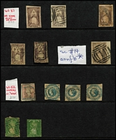 Lot 372 [1 of 4]:1850s-60s Mostly Imperf Selection with 2d QOT x6 one possibly unused (faults), another fine used on piece, 1/- Octagonal x3, 6d Woodblock x14 including pair (faults), (1/-) Registered & 2/-, 1d green QOT x2, Emblems 1d x4 (two apparently unused), 2d x7, 4d x9 (including pair), also Rouletted QOT x11 (two unused), a few rouletted Emblems and perforated 3d Half-length (major fault); condition is very mixed. (67)