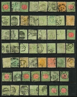 Lot 404 [3 of 3]:1870s-1913 Accumulation in ringbinder, limited range to 9d & 1/- with scads of 3d, 5d & 6d values plus red & green Postage Due low values. Datestamp & numeral postmark interest likely. Well worth viewing. (1,200 approx).