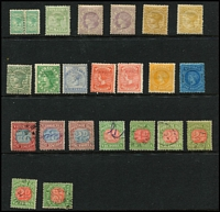 Lot 374:1880-1900s Small Selection with some better mint items including 1885 1/- pale blue/blue optd 'STAMP DUTY' SG #306 (Cat £130), 1896-99 9d rosine & 9d dull rose, 1899-1901 3d slate-green mint, 1901 1/- yellow SG #381, also a few used Postage Dues. (23)