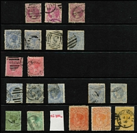 Lot 375 [2 of 5]:1880s-1900s Accumulation with values to 2/6d x3 including 1885-95 ½d deep rosine & 2/- apple-green mint, 1886-96 ½d lilac-grey mint, 1/6d blue Arms mint (disturbed gum), 1897 1d (1/-) Charity mint, 1899-1901 3d slate-green mint & used, also few mint multiples, used values heavily duplicated in places, condition variable. Worthy of closer inspection. (100s)