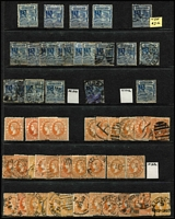 Lot 377 [1 of 4]:Late Period Accumulation mostly used with useful mint content including 1901-13 (V/Crown or Crown/A) 2½d x4, 3d x4, 4d x7, 5d x5, 6d x6, 9d x3, 1/- x3 & 2/- marginal; also heavily duplicated used with a few official perfins used to 2/-. (100s)
