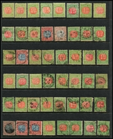 Lot 1126 [3 of 4]:Postage Due Accumulation with 1890-94 Blue & Clarets to 5d used & 10d CTO, 4d to 5/- (x2, one no gum, Cat £380) mint/unused including extra 10d, 1895-1909 Red & Greens incuding mint 2/- pale red & yellowish green SG D19 & 5/- scarlet & deep green SG #D33 (Cat £200), heavily duplicated lower values used, possible postmark interest. (100s)