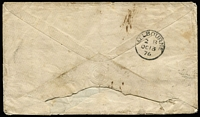 "Lot 1260 [2 of 2]:1876 (Aug 17) Royal Queensland Mail Line cover to Melbourne endorsed ""Via Brindisi/& Brisbane"" with GB 6d Pl 15 & 1d red x2 tied Yarmouth '927' duplex cancels, Melbourne backstamp. Attractive cover."