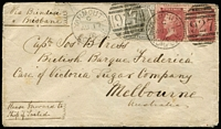 "Lot 1260 [1 of 2]:1876 (Aug 17) Royal Queensland Mail Line cover to Melbourne endorsed ""Via Brindisi/& Brisbane"" with GB 6d Pl 15 & 1d red x2 tied Yarmouth '927' duplex cancels, Melbourne backstamp. Attractive cover."