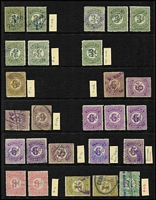 Lot 381 [2 of 3]:Numeral Stamp Duty Array: 1902-60 array to 2/-, various perfs, also 1933 Large Format 6d rouletted, 1920-60 Small Format 1½d pink, ½d mauve rouletted strip of 3 with printing flaw mint, 3d myrtle-green rouletted, etc; also some perfins, condition variable. (180 approx)