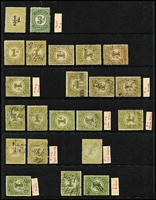 Lot 381 [1 of 3]:Numeral Stamp Duty Array: 1902-60 array to 2/-, various perfs, also 1933 Large Format 6d rouletted, 1920-60 Small Format 1½d pink, ½d mauve rouletted strip of 3 with printing flaw mint, 3d myrtle-green rouletted, etc; also some perfins, condition variable. (180 approx)