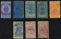Lot 893 [2 of 2]:Stamp Statute: selection with 6d, 1/-, 2/- x2, 2/6d, 5/- (corner creasing), 10/- & £1 x2, pen or fiscal cancels. (9)