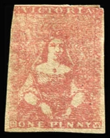 Lot 870:1854-57 Half-Length Campbell & Fergusson 1d rose SG #28a, repair in upper margin, shallow thin, regummed. Presents well, Cat £1,400 (when fine).