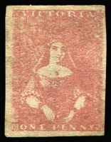 Lot 1205:1854-57 Half-Length Campbell & Fergusson 1d lilac-rose (deep shade) SG #28b, margins just touching to large, small inclusion at base, shallow thinning in places partially disguised by regumming, Cat £1,500. Presents well.