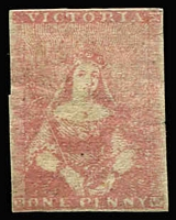 Lot 1206:1854-57 Half-Length Campbell & Fergusson 1d lilac-rose SG #28b, margins just touching to close, flattened crease & few edge blemishes at right, regummed, Cat £1,500.