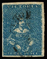 Lot 1204 [2 of 2]:1854 Half-Length Campbell & Co 3d blue SG #24, and 1854-57 Campbell & Fergusson 3d greenish-blue SG #31a, both stamps with complete margins and lightly cancelled, Cat £98+. (2)