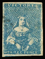 Lot 1204 [1 of 2]:1854 Half-Length Campbell & Co 3d blue SG #24, and 1854-57 Campbell & Fergusson 3d greenish-blue SG #31a, both stamps with complete margins and lightly cancelled, Cat £98+. (2)