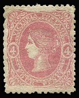 Lot 752:1860-66 Beaded Oval Wmk Single Lined Numerals 4d dull rose-pink SG #95, very well centred, fine unused, Cat £200.