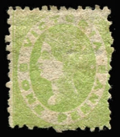 Lot 753:1861-64 Netted Corners Wmk Double-Lined 1 1d yellow-green SG #105, some nibbed perfs, good colour, Cat £250.