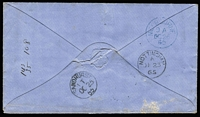 Lot 951 [2 of 2]:1862-64 Adapted Design Wmk 6 6d grey-black SG #107ca oversized sheet corner example tied to 1865 (Oct 25) cover to England by weak strike of BN '457' with equally weak California Gully datestamp alongside, Sandhurst, Melbourne transits & Nottingham arrival backstamps.