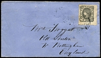 Lot 951 [1 of 2]:1862-64 Adapted Design Wmk 6 6d grey-black SG #107ca oversized sheet corner example tied to 1865 (Oct 25) cover to England by weak strike of BN '457' with equally weak California Gully datestamp alongside, Sandhurst, Melbourne transits & Nottingham arrival backstamps.