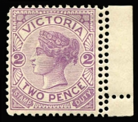 Lot 1201 [2 of 3]:1901-13 Double Perfs Selection comprising 1901-10 V/Crown 1½d maroon/yellow vertical pair (few tonespots) with variety between stamps and 2d lilac between stamp and right margin & 1905-13 Crown/A with the variety on right side. (3)
