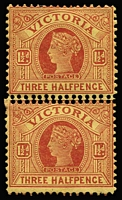 Lot 1201 [1 of 3]:1901-13 Double Perfs Selection comprising 1901-10 V/Crown 1½d maroon/yellow vertical pair (few tonespots) with variety between stamps and 2d lilac between stamp and right margin & 1905-13 Crown/A with the variety on right side. (3)