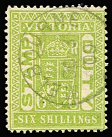 Lot 1202 [1 of 2]:Stamp Duty CTO Group comprising 3/- olive-drab, 3/- pale olive (with gum), 5/- rose-red (with gum), 6/- pale yellow-green x2 ('OC3' or 'DE22' 1900 cancels), all with Melbourne CTO datestamps. (5)