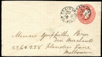 Lot 418 [3 of 5]:1893-1911 Selection on Cover: including 1893 use of 2d Stationery Envelope with Type TPO3-Up3 datestamp (Rated 'S' on cover), 1910 PPC with Type TPO-Up5 datestamp (Rated 'S' on cover), 1911 cover with Type TPO-Up4 (Rated 4R, just 6 recorded by Molnar & Waugh), plus two other items. (5)