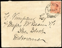 Lot 418:1893-1911 Selection on Cover: including 1893 use of 2d Stationery Envelope with Type TPO3-Up3 datestamp (Rated 'S' on cover), 1910 PPC with Type TPO-Up5 datestamp (Rated 'S' on cover), 1911 cover with Type TPO-Up4 (Rated 4R, just 6 recorded by Molnar & Waugh), plus two other items. (5)