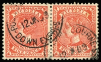 Lot 880:English Mail TPO: 'POSTED MELBOURNE/DOWN EXPRESS', two large-part 1909 strikes on 9d pair, Molnar & Waugh suggest [Rated 2R] on loose stamps, with obvious premium for this strike on a 9d pair.