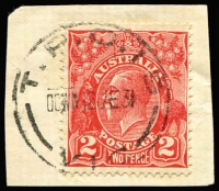 Lot 1179:TPO 19: 'T.P.O.19/DOWN' complete strike tying 2d red KGV to small piece, [Rated 4R].
