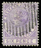 Lot 954 [1 of 2]:1879 1d bistre P14 & 6d violet P14 SG #T1 & T2, fine used, Cat £240+. (2)