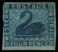 Lot 1266:1860-64 Imperf Recess Wmk Swan 4d blue Wmk Sideways SG #26a, couple of nicks in margin & rounded upper-left corner, fine otherwise, Cat £750.