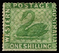 Lot 632:1861 Recess Wmk Swan Clean Cut Perf 14-16 1/- yellow-green Wmk upright SG #43a, strong colour, regummed, Cat £1,200.