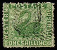 Lot 1340:1861 Recess Wmk Swan Intermediate Perf 14-16 1/- yellow-green SG #37 wmk upright (inverted), tidy cancel, Cat £250 (as SG #37). [Gibbons do not list Wmk Upright for this stamp, although they do list it for the Clean-cut perf issue]