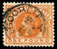 Lot 949:1902-12 Wmk V/Crown Perf 12½ or 12½x12 £1 orange-brown SG #128. Kalgoorlie datestamp, Cat £190.