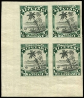 Lot 1437 [2 of 2]:1920 Pictorials ½d & 1½d Imperforate proof corner blocks of 4 on unwatermarked wove paper, 1½d block without gum. (2)