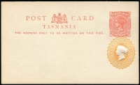 Lot 1077 [2 of 5]:Postal Card Selection with Queensland 1889-91 1d, 2d x2 & 3d unused, 1891-92 1½d unused, 1898 1d Views H&G #10 x4 used and one unused; Tasmania 1902 use of 1d Pink #7 uprated with ½d Tablet for transit to England, 1906 use of KEVII 1d from St Mary's to Campbell Town, also 1d + ½d Doublton unused; WA 1879 ½d & 1d and 1893 1½d on 'THREE PENCE' all unused; also South Australia 1d x2 (one used) plus ½d Wrapper unused; condition variable, many are fine. (19 items)